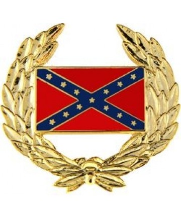 Confederate Flag with Wreath Pin
