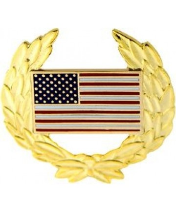 US Flag with Wreath Pin
