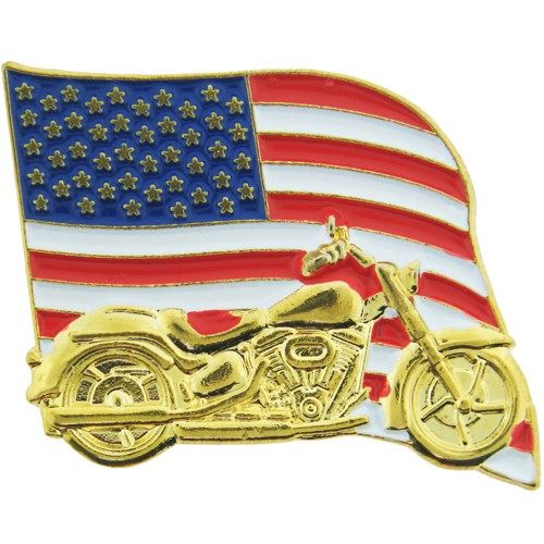 American Flag & Motorcycle pin