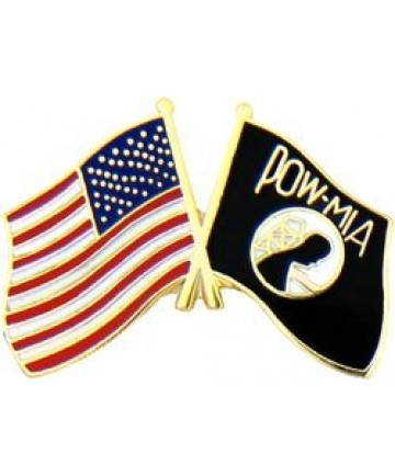 US & POW/MIA Crossed Flags pin