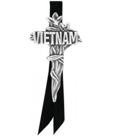 Vietnam Cross Large pin w/ black satin ribbon