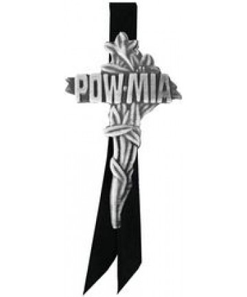 POW/MIA Cross Large pin w/ black satin ribbon