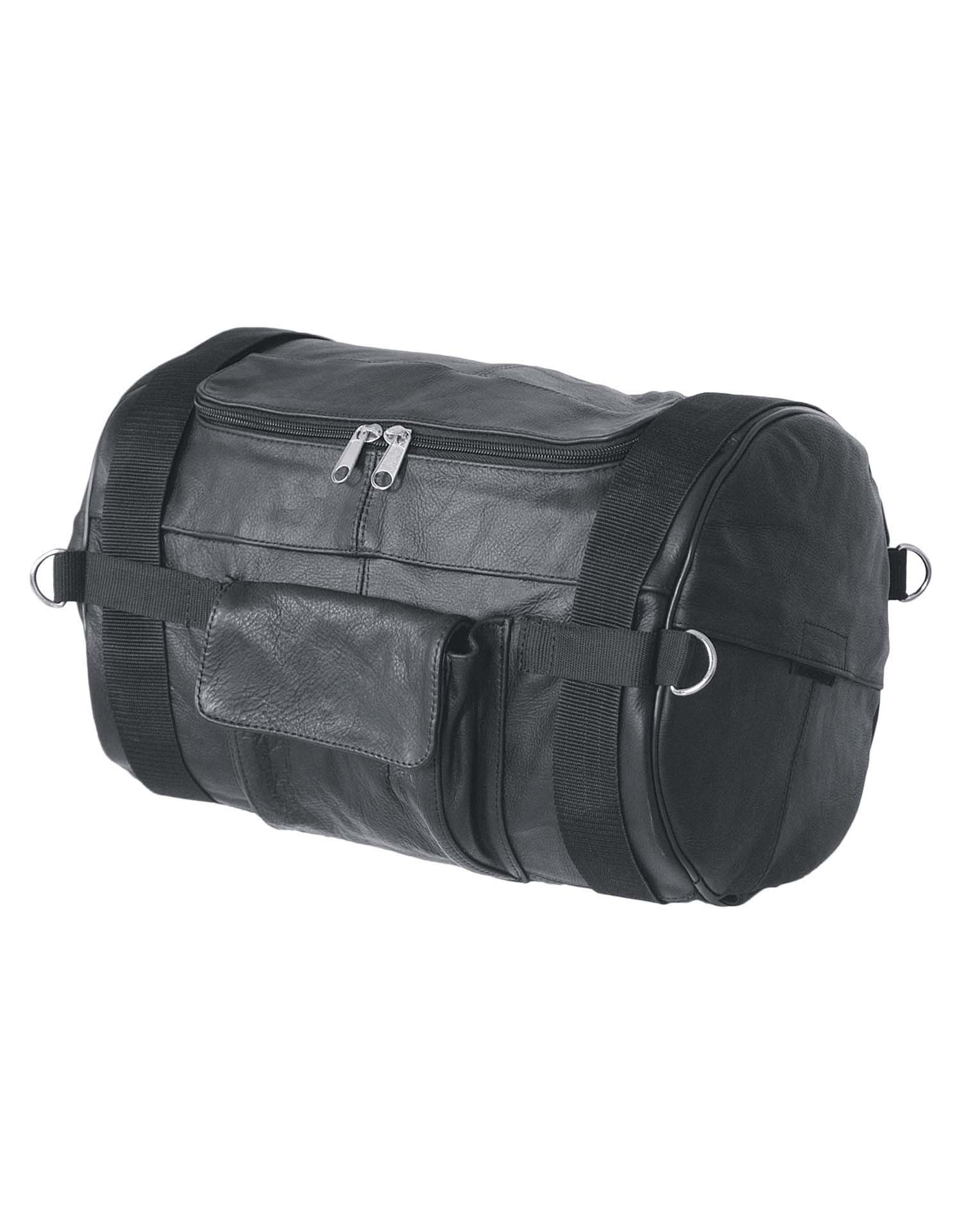 "Black Leather Duffel Bag with Rain Cover, 14""W x 10""H"