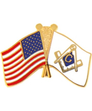 United States & Masonic Crossed Flags Pin