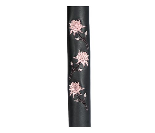 Black Leather Ponytail Wrap with Pink Butterflies
