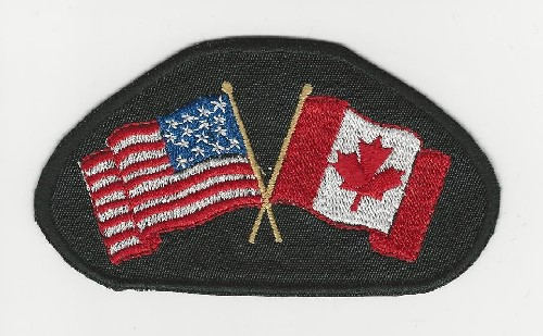 "American & Canadian Flags 4"" Semi-Oval patch"
