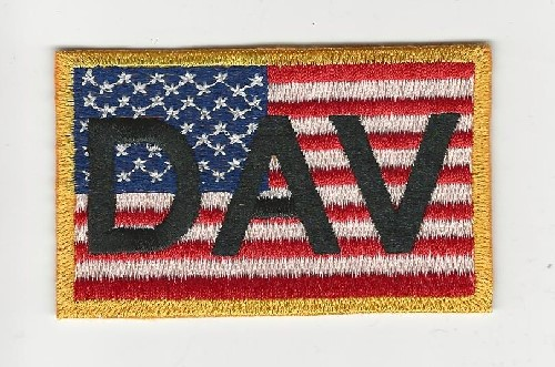 American Flag with DAV across front 31/4' x 2' patch