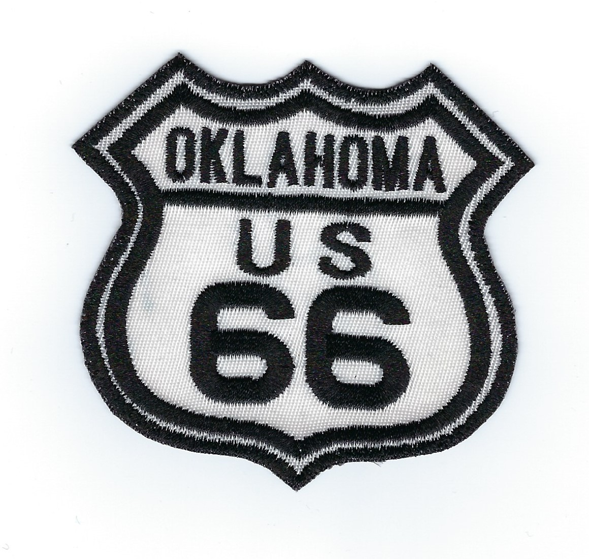 "Route 66 Oklahoma US patch, black & white street sign design, 3"" x 2.8"""