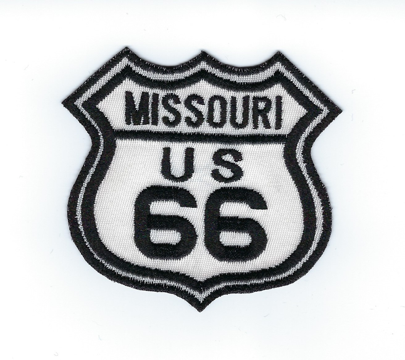 "Route 66 Missouri US patch, black & white street sign design, 3"" x 2.8"""
