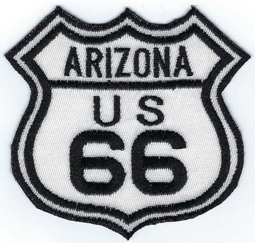 "Route 66 Arizona US patch, black & white street sign design, 3"" x 2.8"""