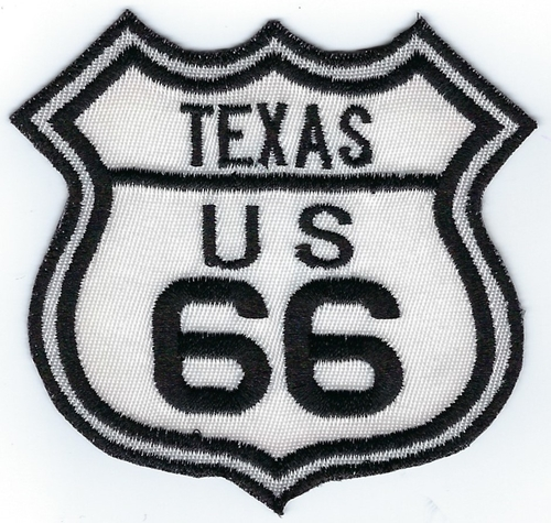 "Route 66 Texas US patch, black & white street sign design, 3"" x 2.8"""