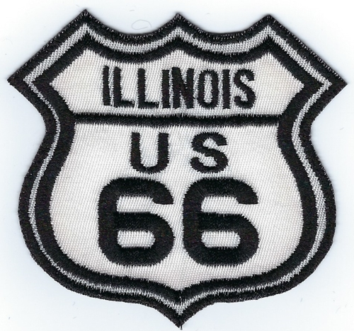 "Route 66 Illinois US patch, black & white street sign design, 3"" x 2.8"""
