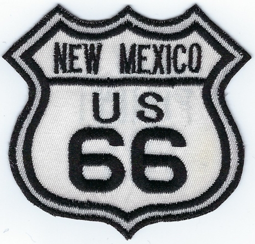 "Route 66 New Mexico US patch, black & white street sign design, 3"" x 2.8"""