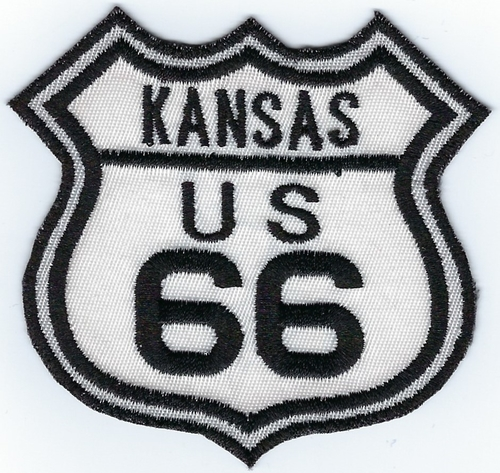 "Route 66 Kansas US patch, black & white street sign design, 3"" x 2.8"""