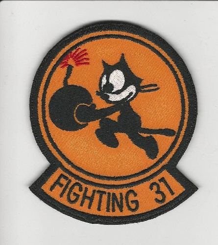 "Fighting 31 'Felix' patch 3.5"" circle with lower rocker tab patch"