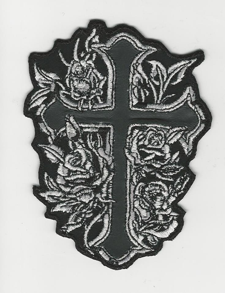 4' Rose Cross with Black Reflective material inside the cross