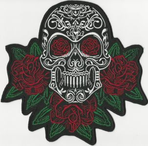 Skull patch with Red Roses, 8""