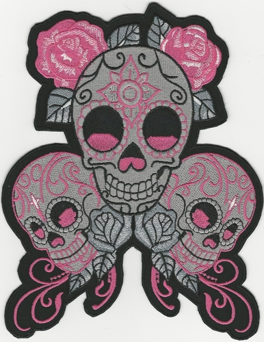 Three Skull patch with Pink Roses, 8""