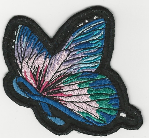 Blue Support Ribbon with Rainbow Butterfly Wings