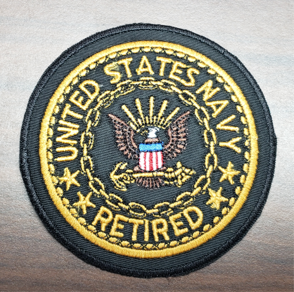 "US Veterans 3"" Navy Retired Patch"