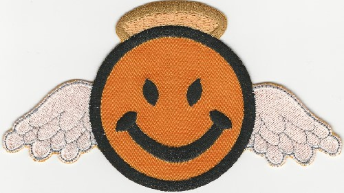 "2.5"" Happy Face Angel w/ Halo and Wings patch"