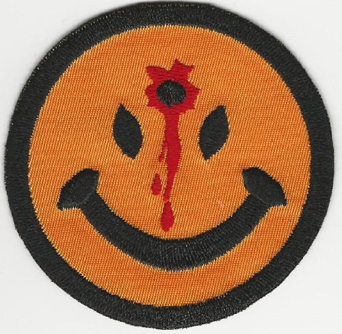 "3"" Happy face patch with bullet in forehead patch"