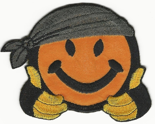"2.5"" Happy face biker patch"
