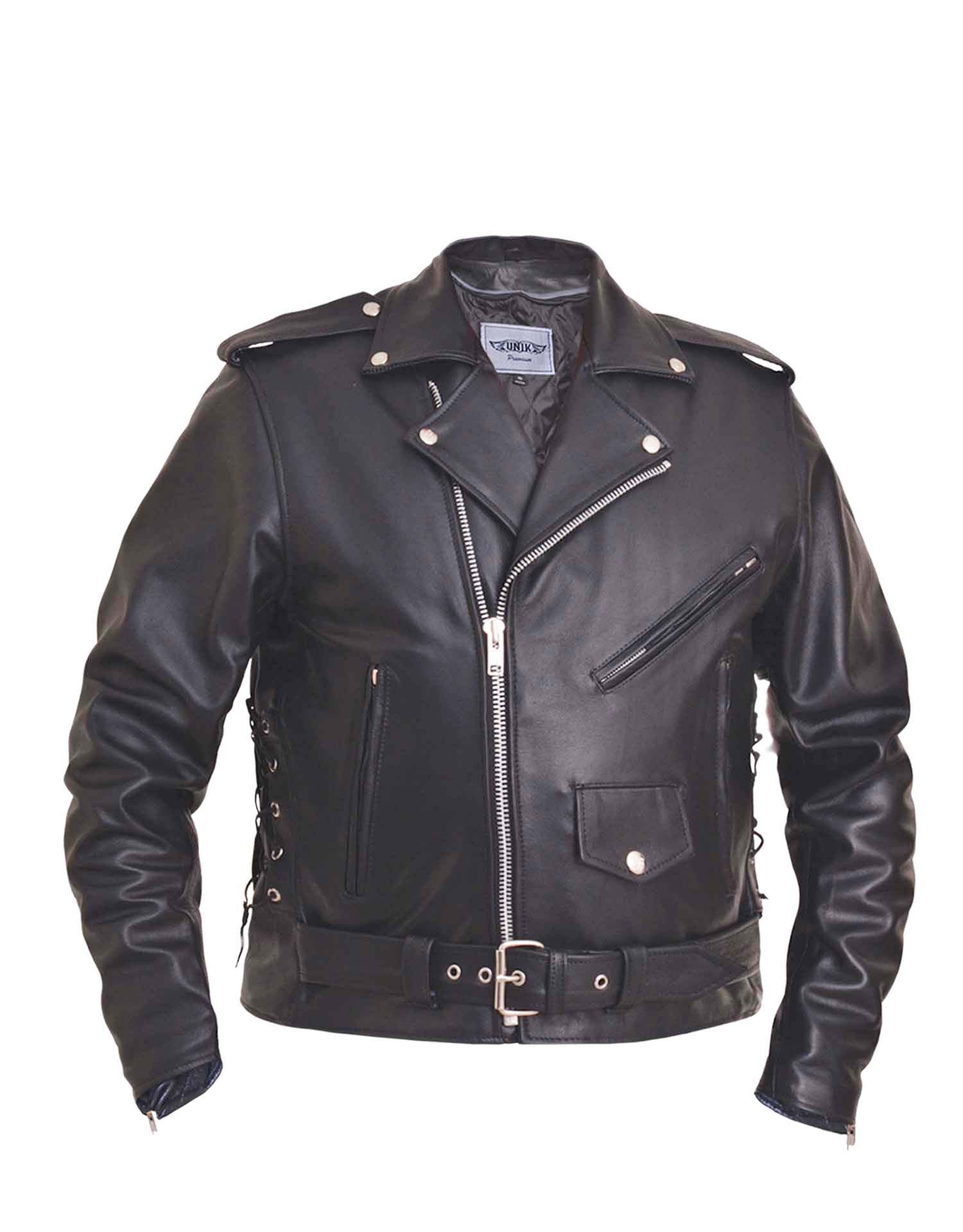 Men's Traditional Premium Black Leather M.C. Jacket (Size: 40)