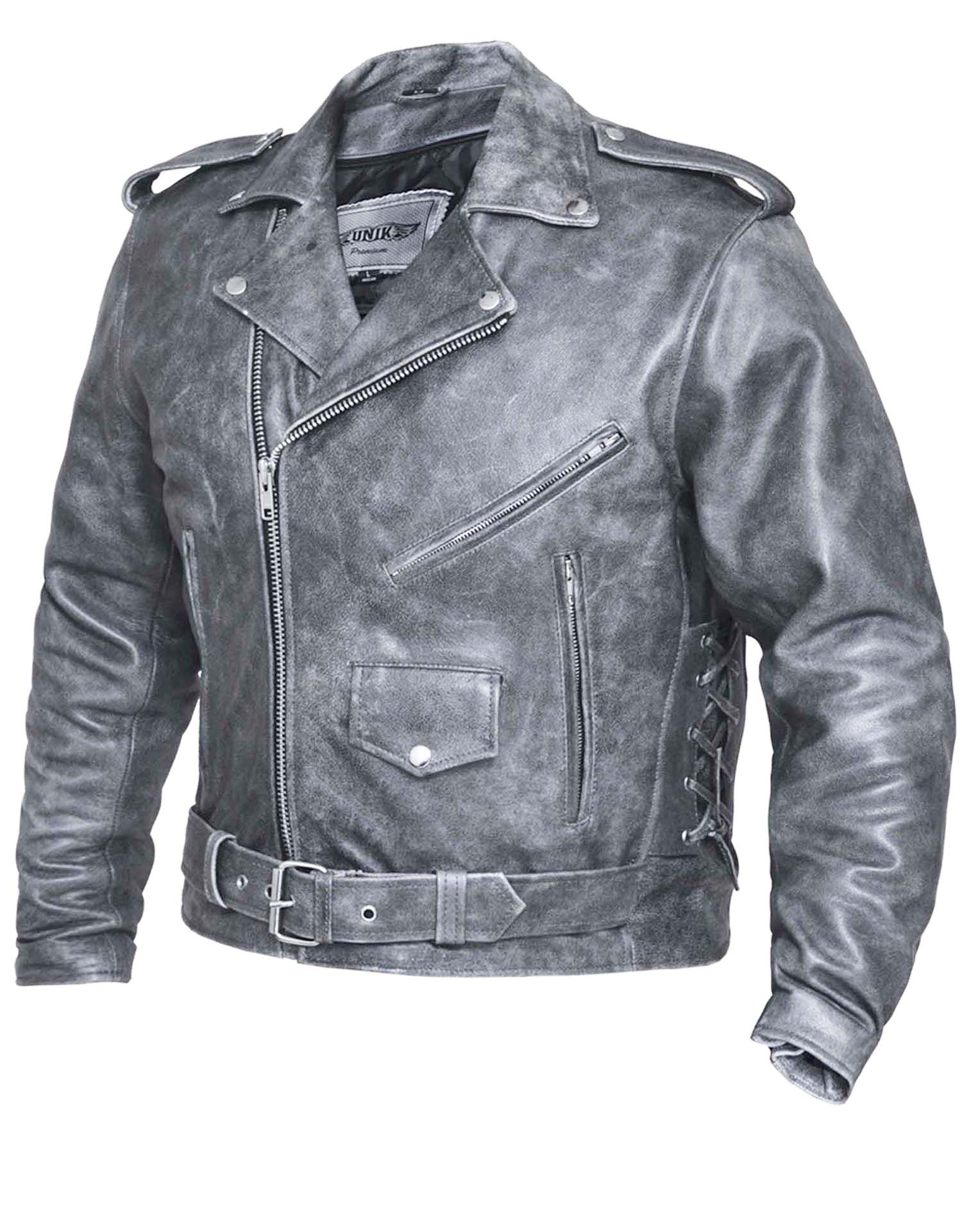 Mens Premium Tombstone Grey Traditional M.C. Leather Jacket (Size: Small)