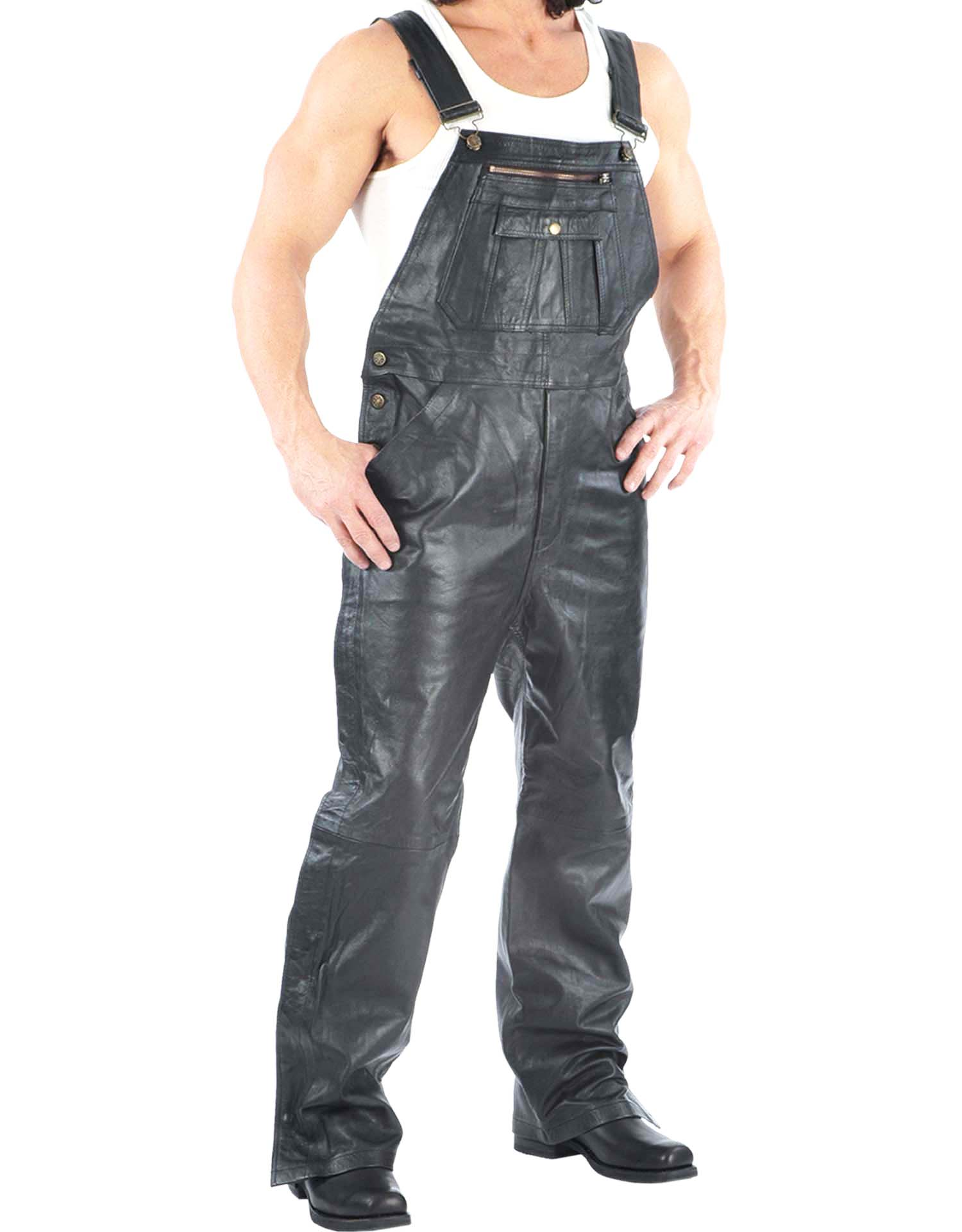 Men's Premium Black Leather Overalls (Size: Small)