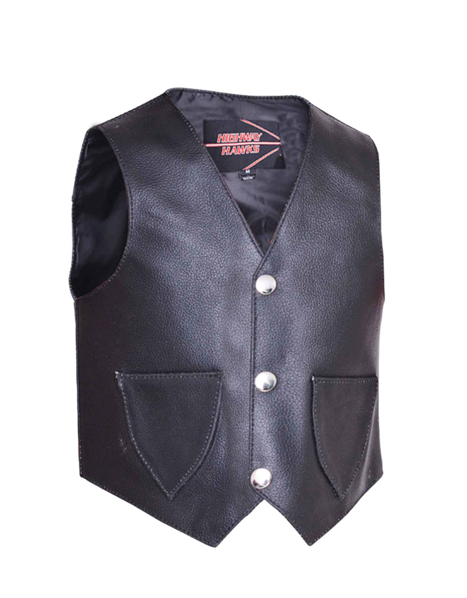 Toddler's Solid Side Black Leather Vest (Size: X-Small)