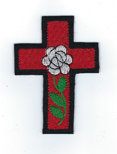 "Rose Croix patch, 3"" (Color: White)"