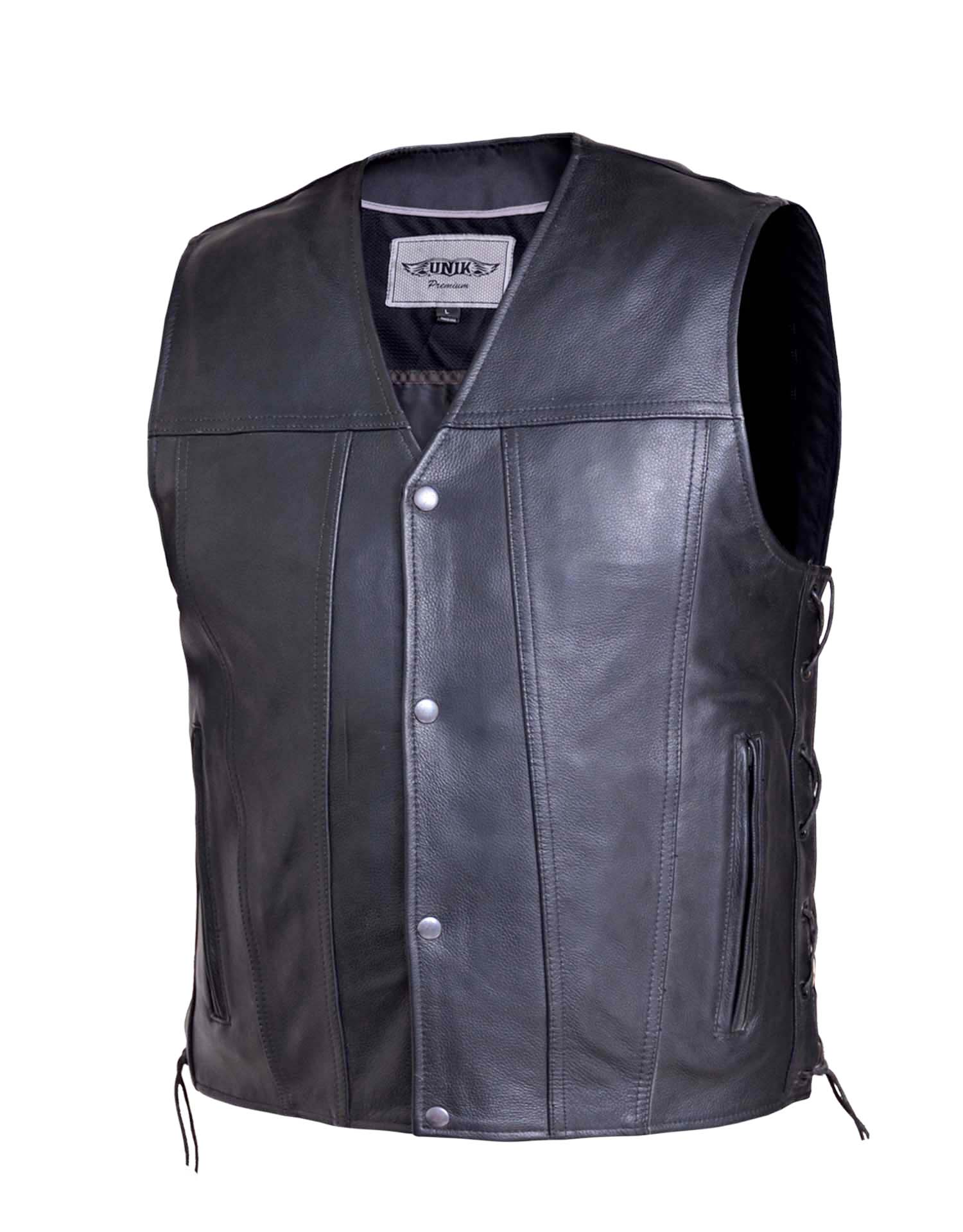 Men's Premium Soft Cowhide Gun Pocket Side-Lace Vest (Size: X-Small)