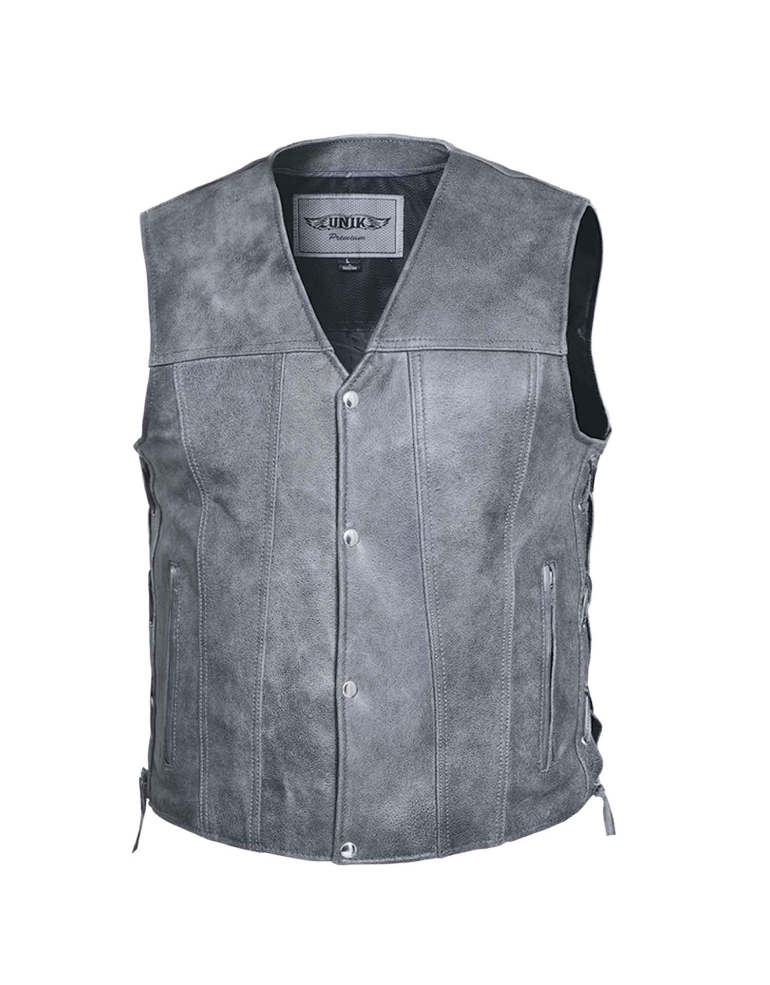Men's Premium Tombstone Grey Leather Vest (Size: Small)