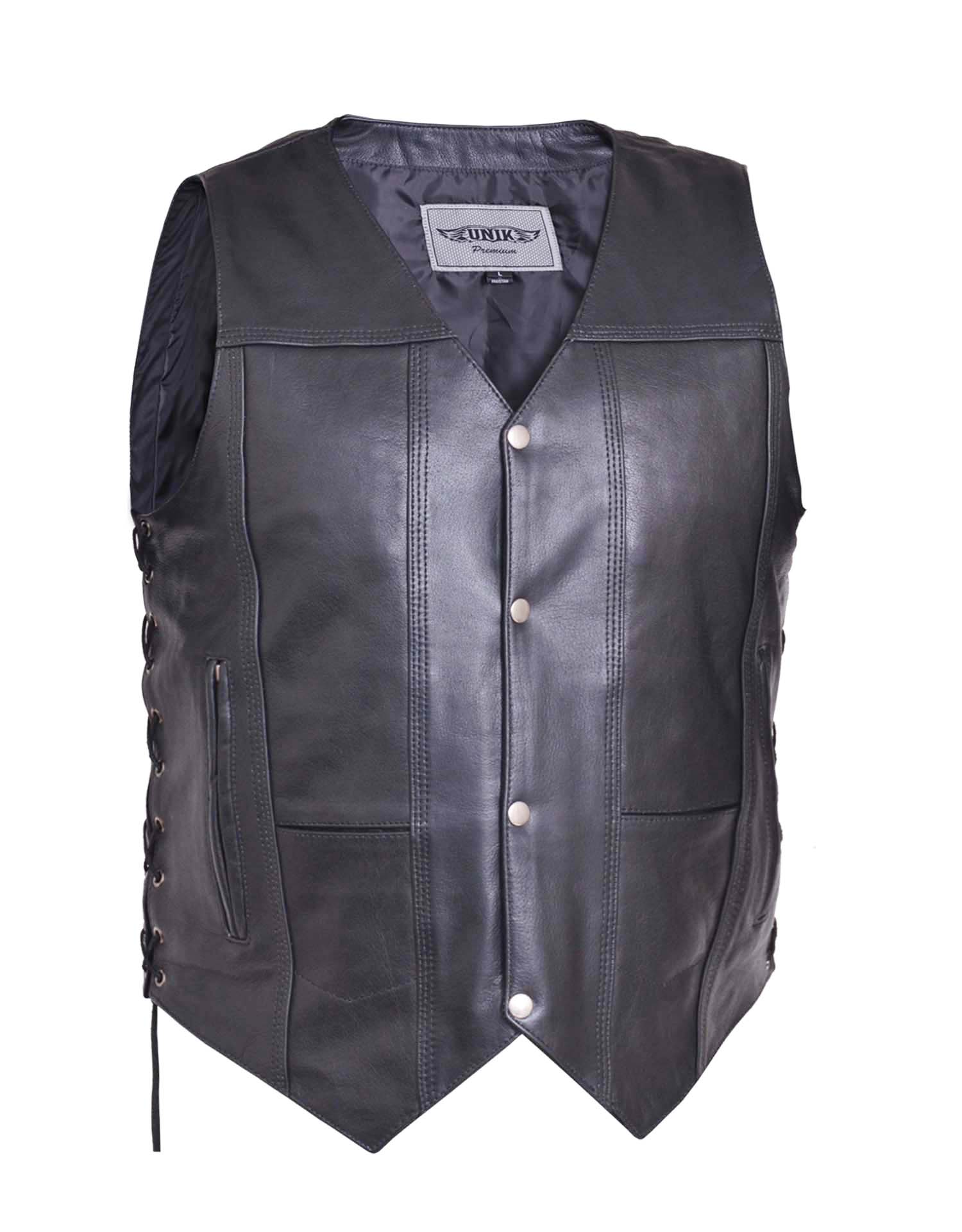 Men's Premium Leather 10-Pocket Vest (Size: X-Small)