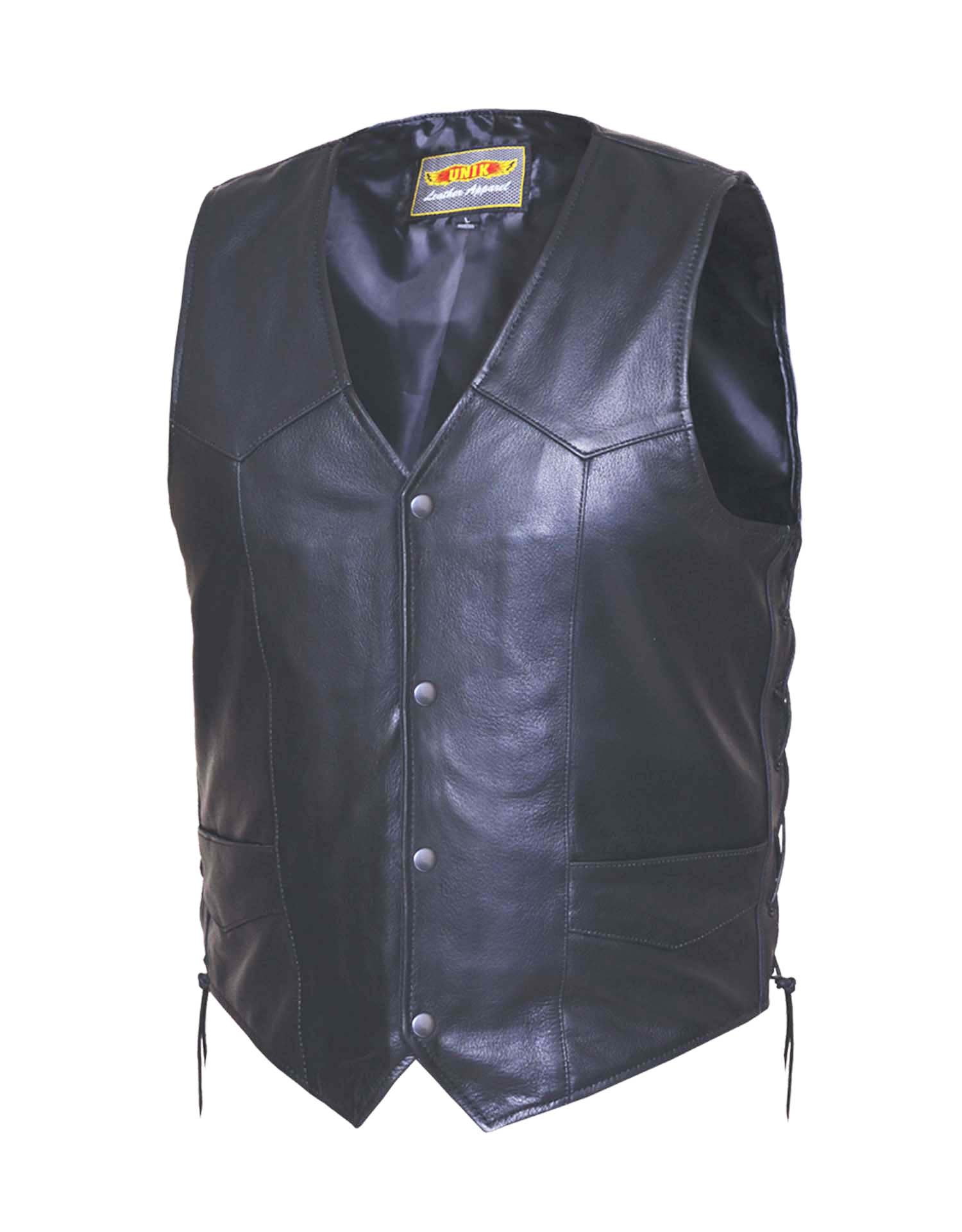 Mens Premium Traditional Leather Vest w/Lace Sides (Size: Small)