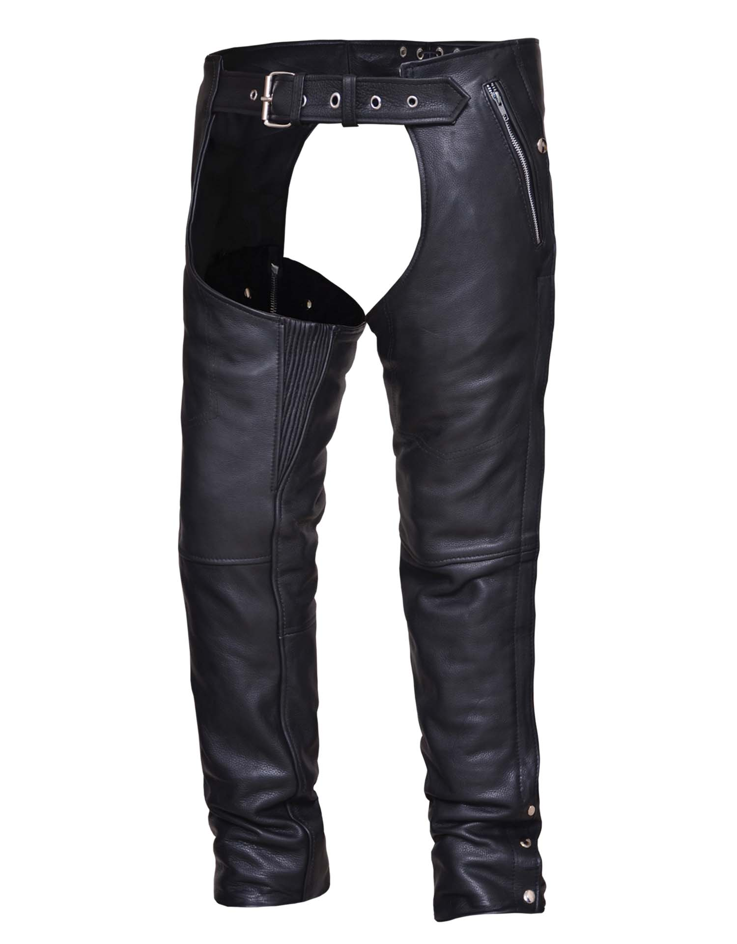 Unisex Ultra Black Leather Chaps w/ Inner Thigh Stretch Panel (Size: X-Small)
