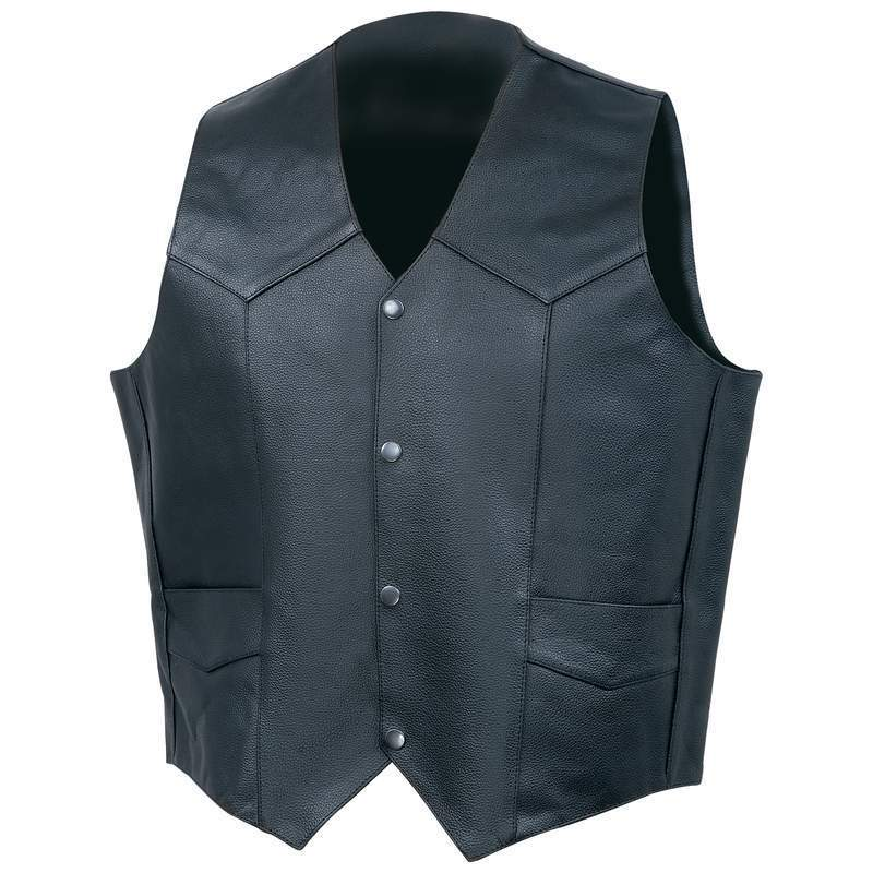 Mens Premium Buffalo Leather Vest, Solid Side (Size: Small)