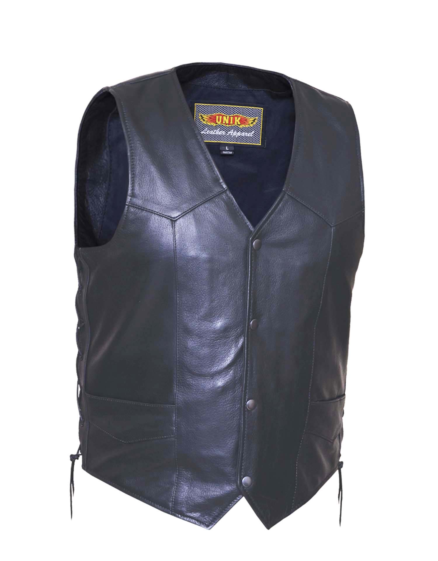 Mens Premium Buffalo Leather Vest w/Side Laces (Size: Small)