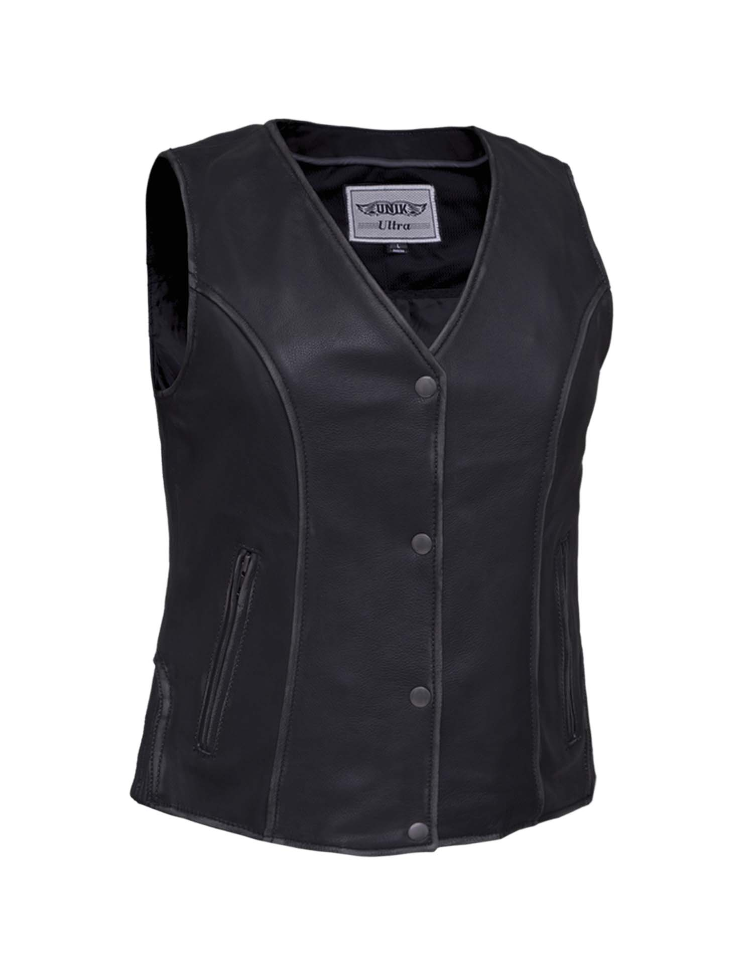 Ladies V-Neck Leather Vest With Zip Pockets (Size: X-Small)