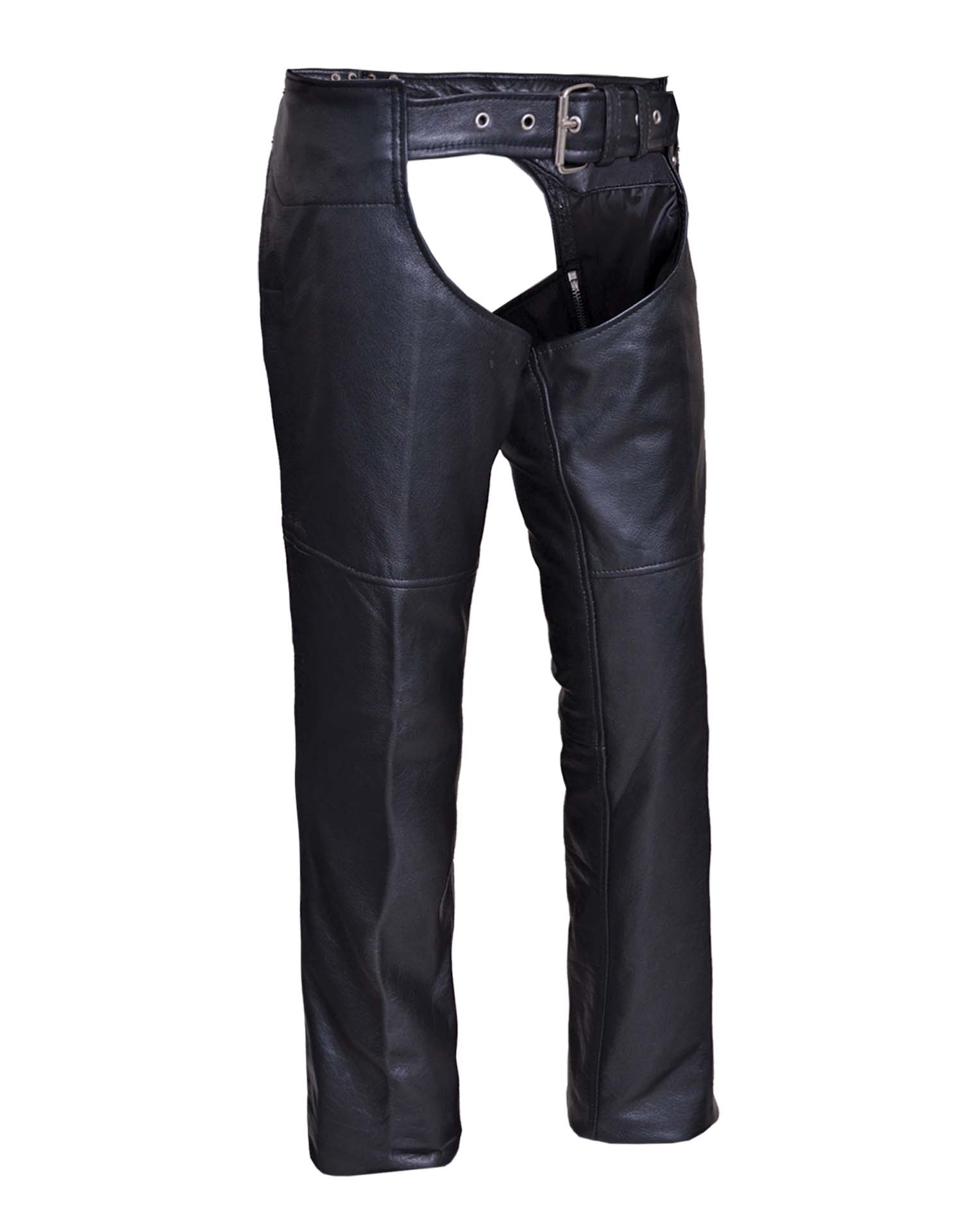 Ladies Low-Rise Premium Black Leather Chaps (Size: 2X-Small)