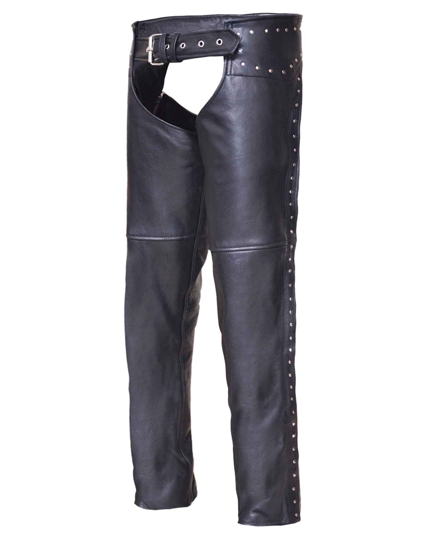 Ladies Low-Rise Premium Black Leather Chaps w/Studs (Size: 3X-Small)