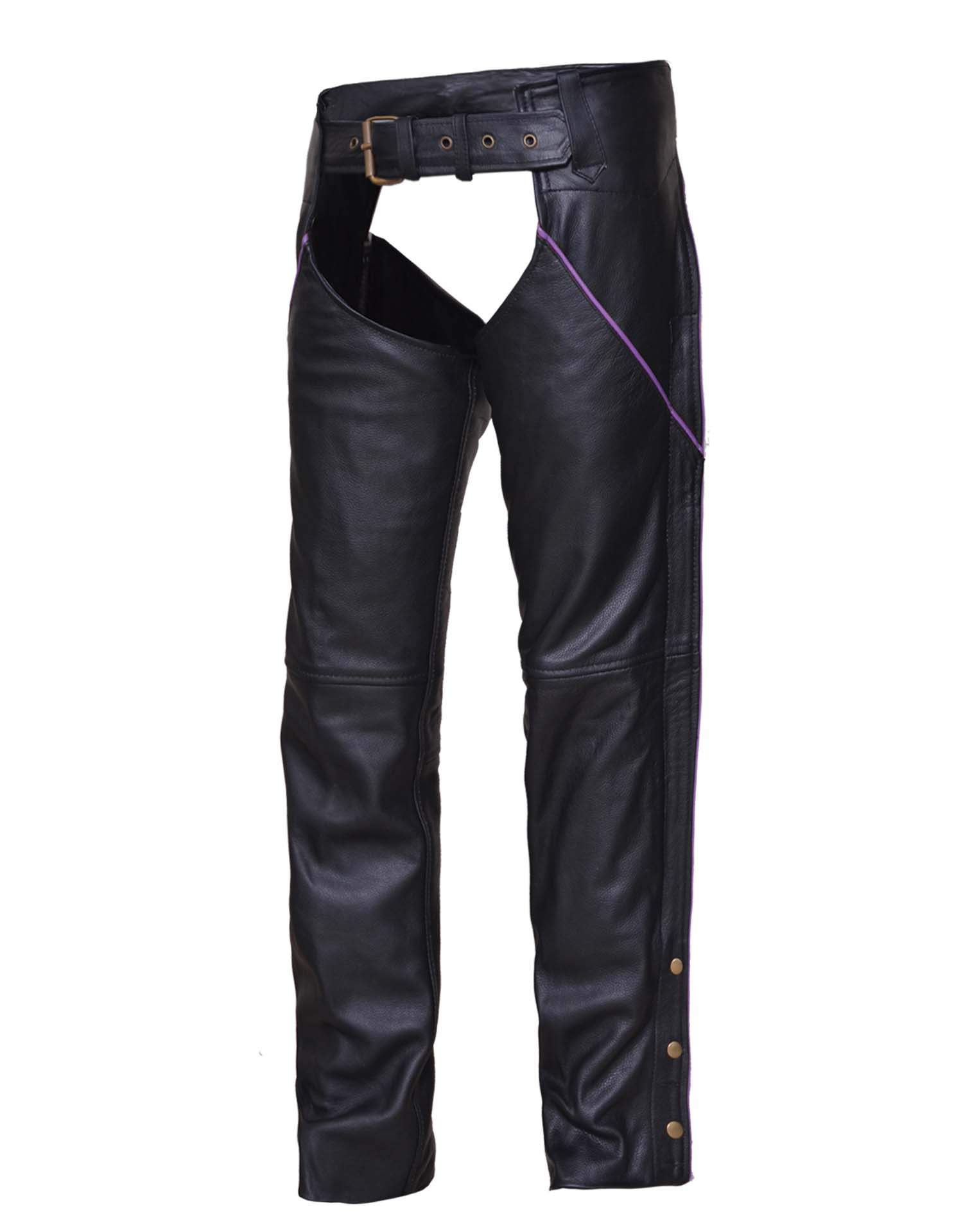 Ladies Premium Black Leather Chaps w/Purple Piping (Size: 3X-Small)