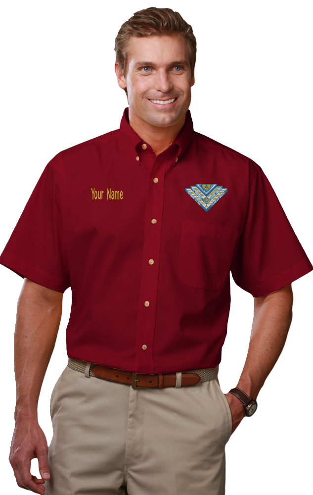 High Twelve Short Sleeve Twill Shirt (Size: X-Small, Color: Burgundy)
