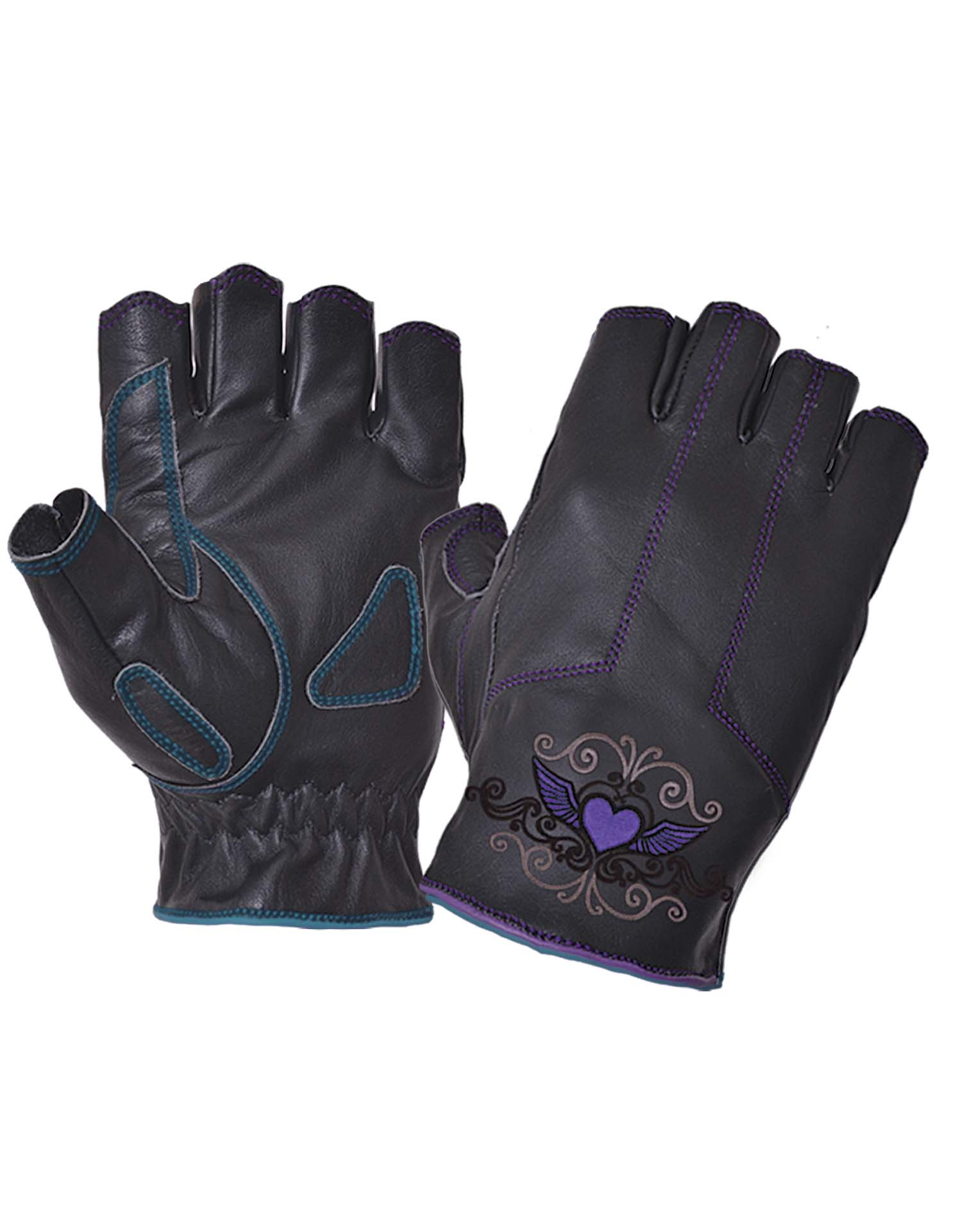 Ladies Black Leather Fingerless Gloves With Purple Tribal Hearts (Size: Large)