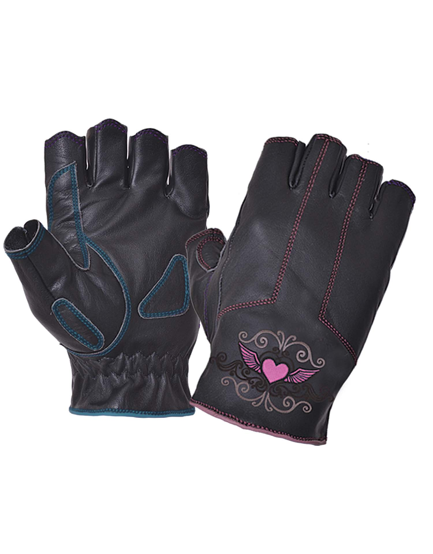 Ladies Black Leather Fingerless Gloves With Pink Tribal Hearts (Size: Large)