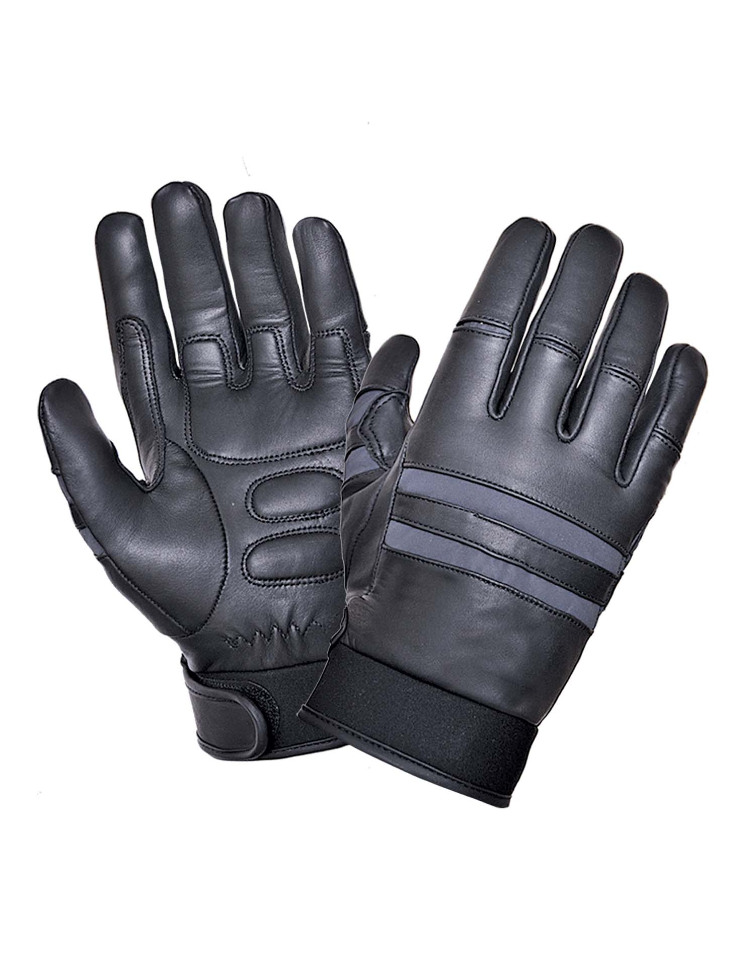 Black Full Finger Leather Gloves, Gel palm, Reflective (Size: Small)