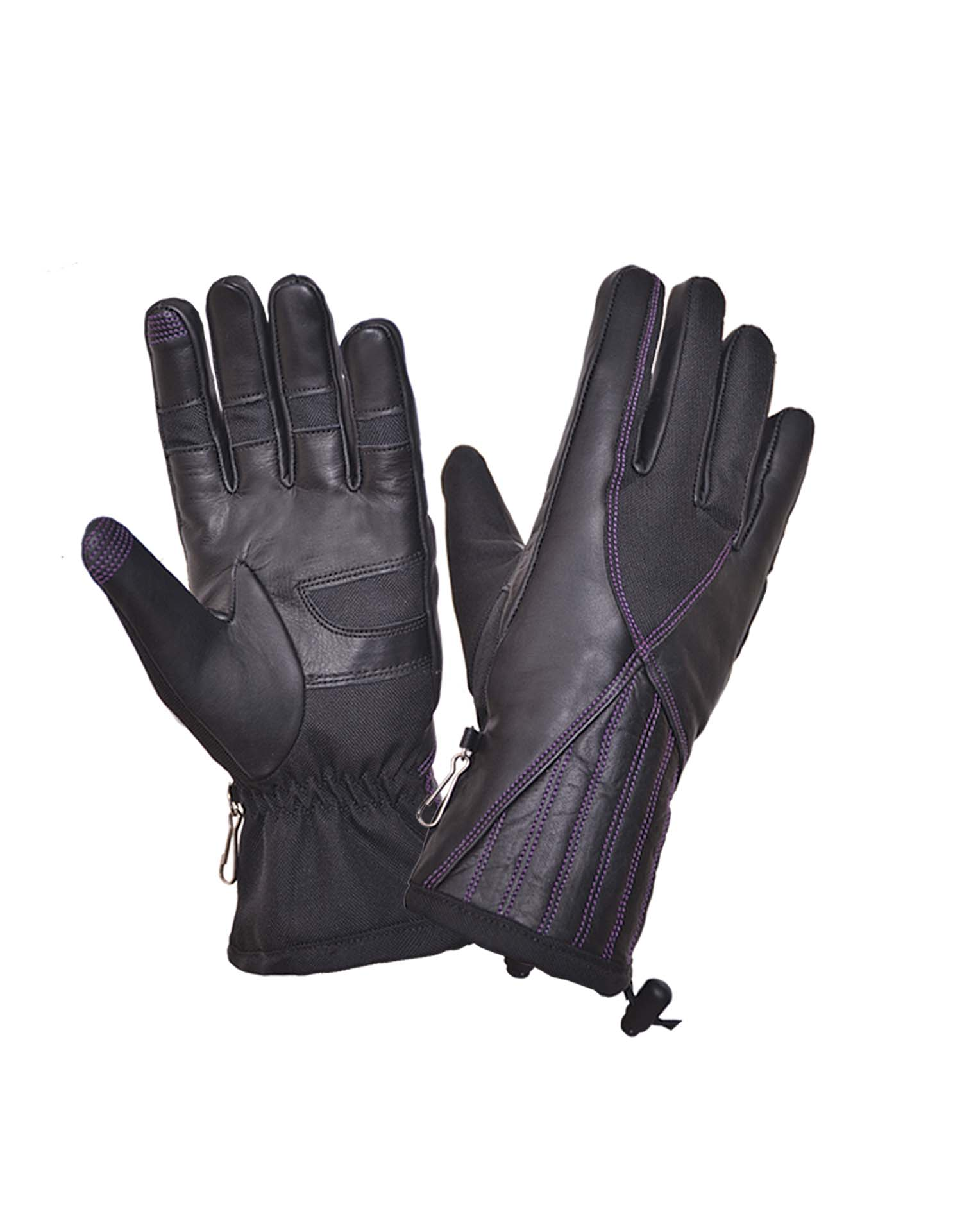 Ladies Black Full-Finger Gloves With Purple Stitching (Size: Large)