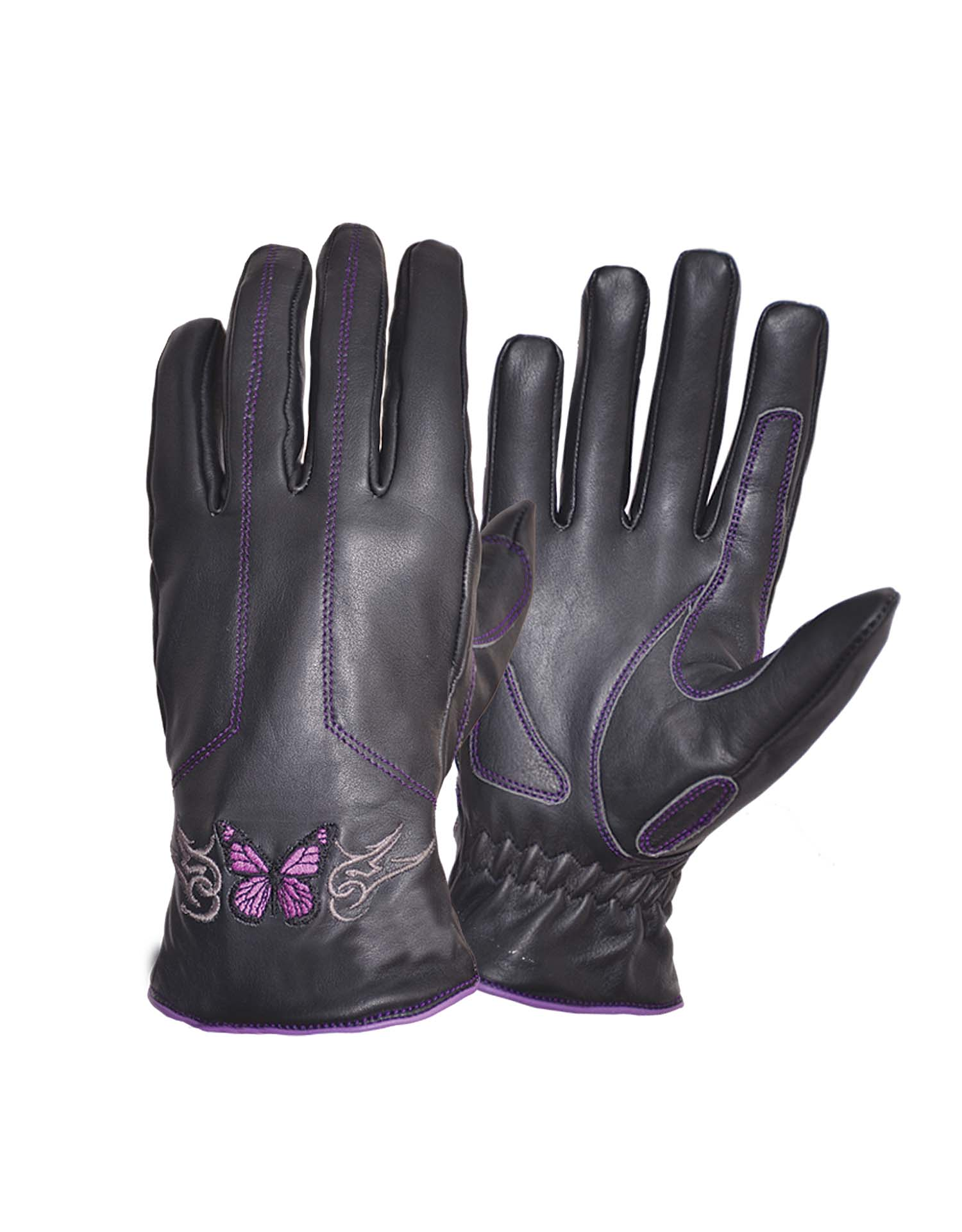 Ladies Full-Finger Gloves with Butterfly, Purple (Size: Large)