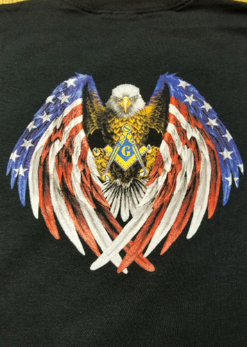 Masonic Swooping Eagle & Flag w/Square & Compass T-Shirt (Size: Large)